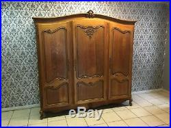 Wonderful Armoire Wardrobe 3 door Vintage French solid oak Louis XV Style
