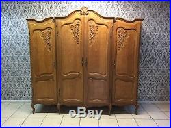 Wonderful Armoire Wardrobe 4 door Vintage French solid oak Carved Louis XV Style