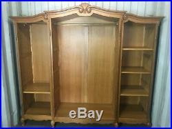 Wonderful Armoire Wardrobe 4 door Vintage French solid oak Louis XV Style