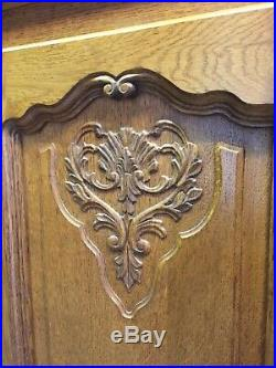 Wonderful Armoire Wardrobe 5 door Vintage French solid oak Carved Louis XV Style