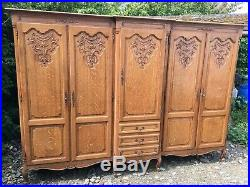 Wonderful Armoire Wardrobe 5 door Vintage French solid oak Louis XV Style