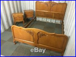 Wonderful double bed and 2 nightstand solid oak Louis XV French style