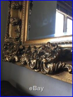 Wood Antique Gold 6ft X 3ft Ornate French Leaner Dress Swept Gilt Wall Mirror