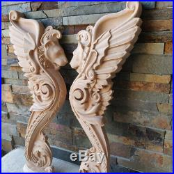 Wood Carved Griffin Gothic Pair Door Stairs Lion Wall French Victorian Furniture