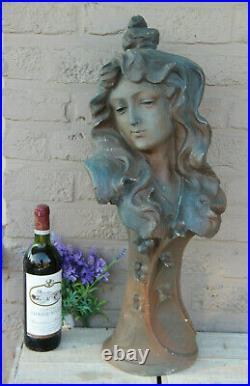 XL Antique french terracotta Art nouveau Lady Bust Statue sculpture marked